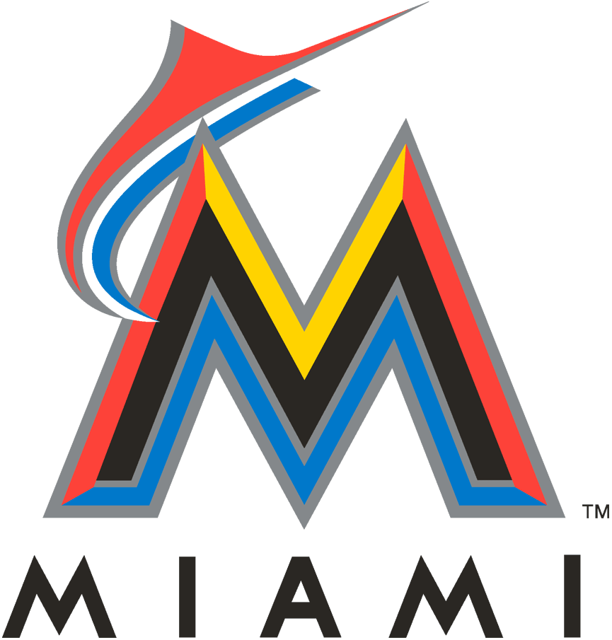 Miami Marlins Logo Primary Logo (2012-2016) - An orange and blue marlin leaping over a black, orange, yellow and blue M with a silver outline and MIAMI below in black SportsLogos.Net