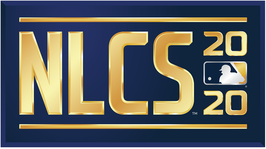NLCS Logo Primary Logo (2020) - The 2020 National League Championship Series logo shows the abbreviated name of the event, NLCS, in all caps sans-serif gold lettering with the year in gold to the right and the MLB logo. The entire logo is placed within a navy blue rectangle. SportsLogos.Net
