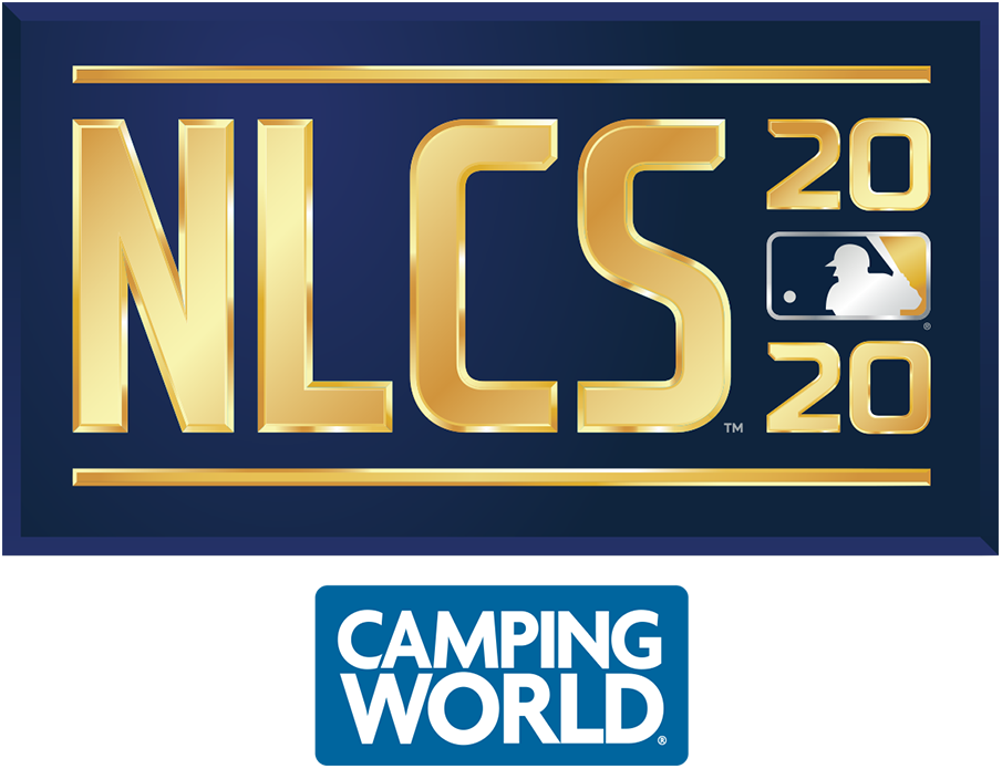 NLCS Logo Sponsored Logo (2020) - The 2020 National League Championship Series logo shows the abbreviated name of the event, NLCS, in all caps sans-serif gold lettering with the year in gold to the right and the MLB logo. The entire logo is placed within a navy blue rectangle. This version of the logo, shown with the Camping World branding, is considered the official primary logo for the event. SportsLogos.Net