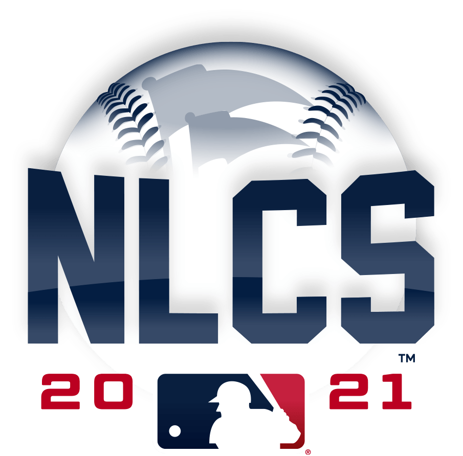 NLCS Logo Primary Logo (2021) - The 2021 National League Championship Series logo shows the name of the series NLCS in blue in front of a white baseball with blue stitching and two pennants, the MLB logo is below with the year 2021 placed on either side of the logo in red SportsLogos.Net