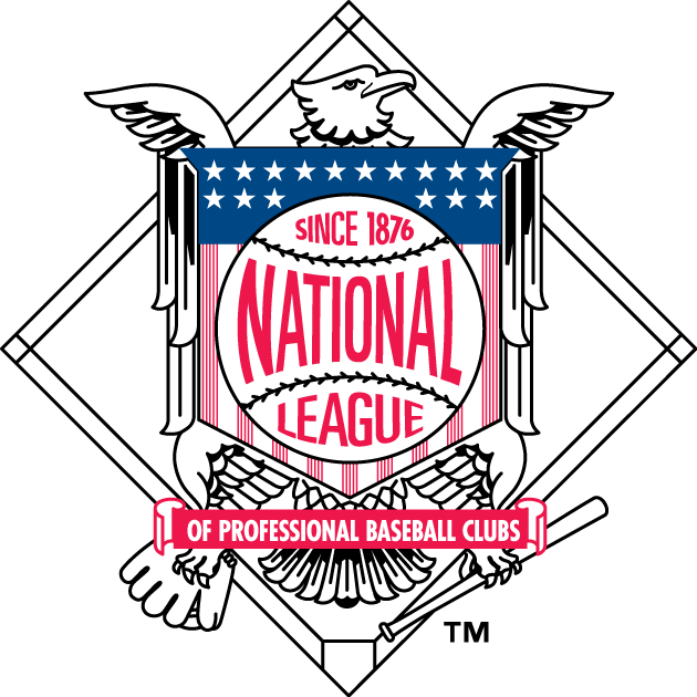 National League Logo Primary Logo (1998-2012) - An Eagle with a shield with 16 stars holding a bat and a glove SportsLogos.Net