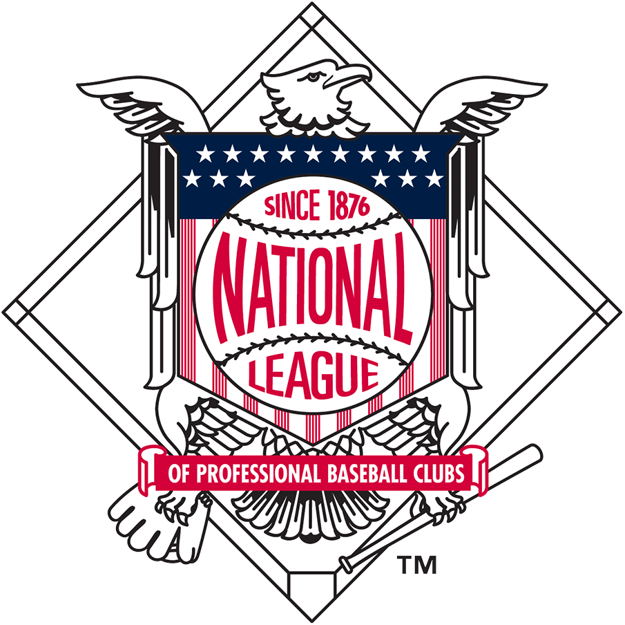 National League Logo Primary Logo (2019-Pres) - The National League primary logo has long featured an eagle, chest facing the viewer, with its head turned to the right, clutching a baseball mitt with one foot and a bat with the other. Over the years the logo has been altered to change the amount of stars on the shield, the stars representing each team in the league. In 2019 the fifteen stars remained but the shades of red and blue were darkened to match the primary logo of Major League Baseball SportsLogos.Net