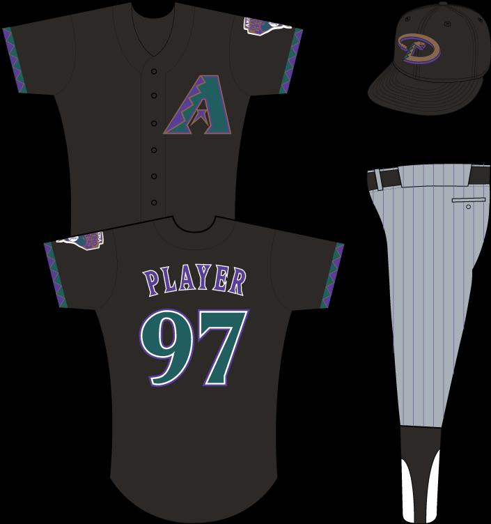 Arizona Diamondbacks Uniform Alternate Uniform (1999) - Multi-colored A on black uniform with teal, purple and gold sleeve accents, snake patch on left sleeve SportsLogos.Net