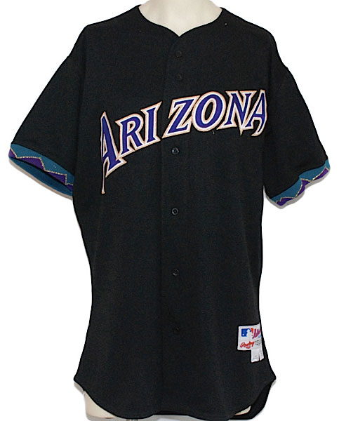 Arizona Diamondbacks Game-Worn Jersey Photo Jersey Photo (2001-2006) - Arizona Diamondbacks game worn alternate black jersey, style worn from 2001 through 2006 SportsLogos.Net