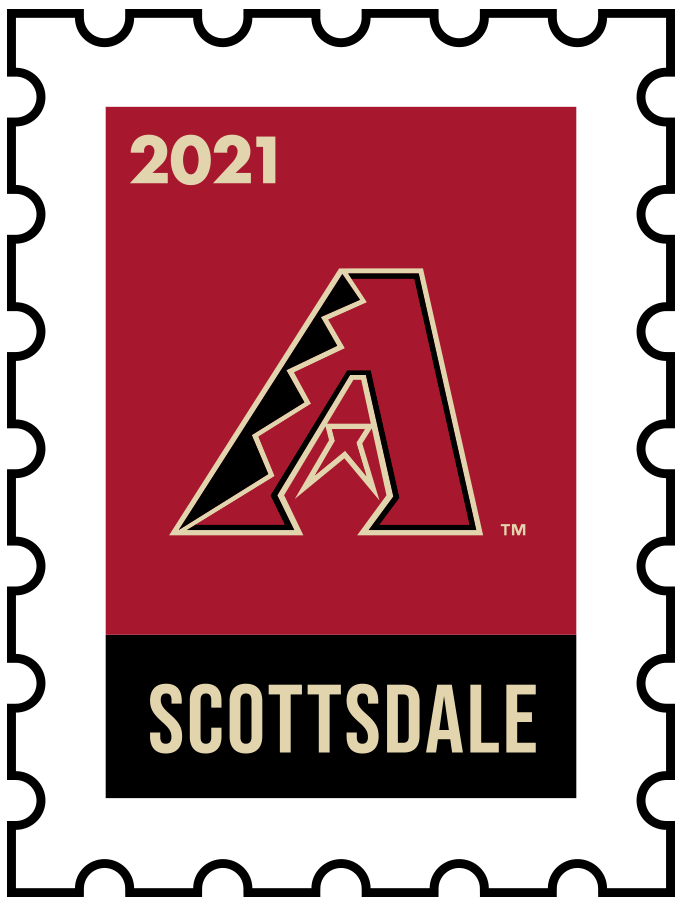 Arizona Diamondbacks Logo Event Logo (2021) - The Arizona Diamondbacks 2021 Spring Training logo, the design follows a league-wide style using a postage stamp in team colours with the team logo in the middle. SportsLogos.Net