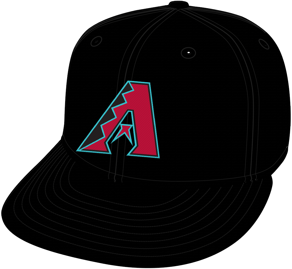 Arizona Diamondbacks Cap Cap (2016-2019) - Arizona Diamondbacks alternate black cap with A logo and teal accents SportsLogos.Net