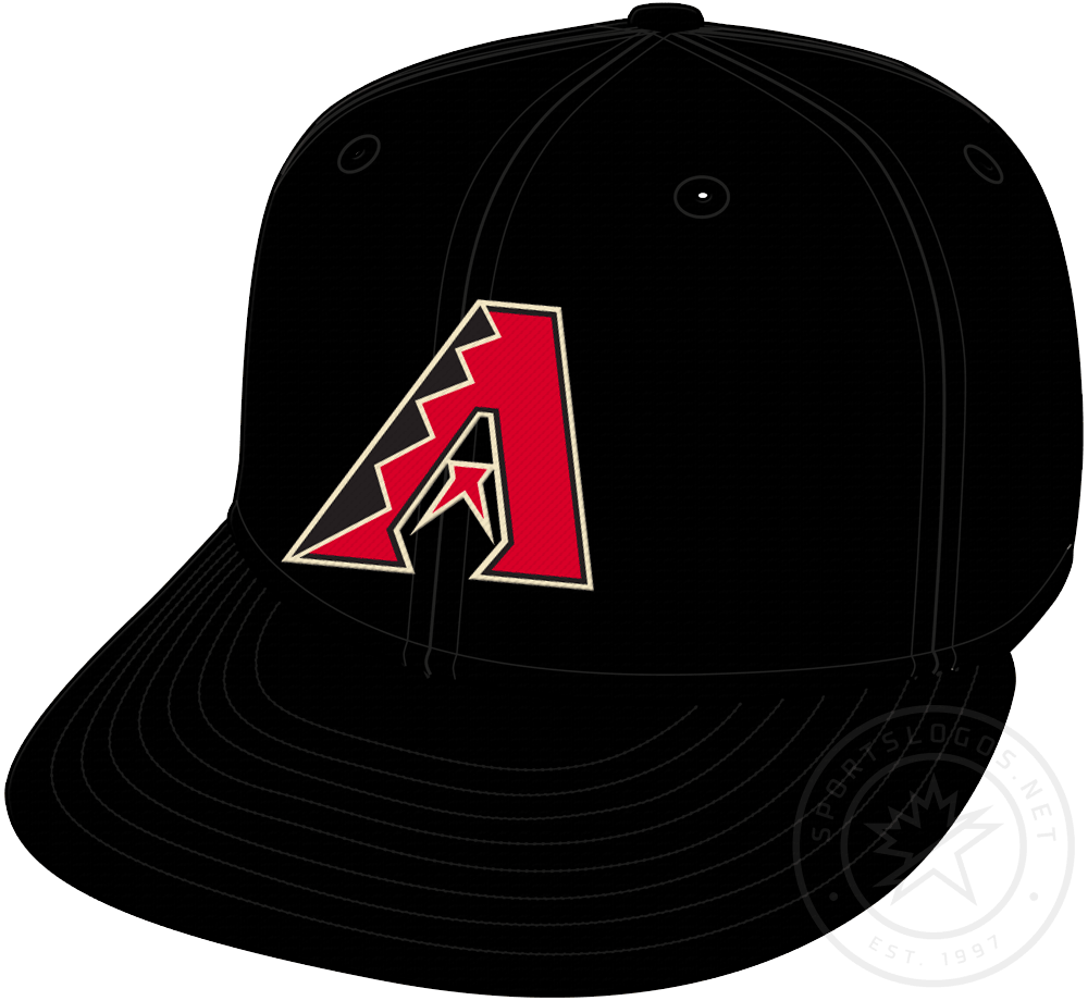Arizona Diamondbacks Cap Cap (2020-Pres) - Dbacks A logo in red on black (with no gradient this time), worn on Arizona Diamondbacks primary home and road cap starting in 2020 SportsLogos.Net