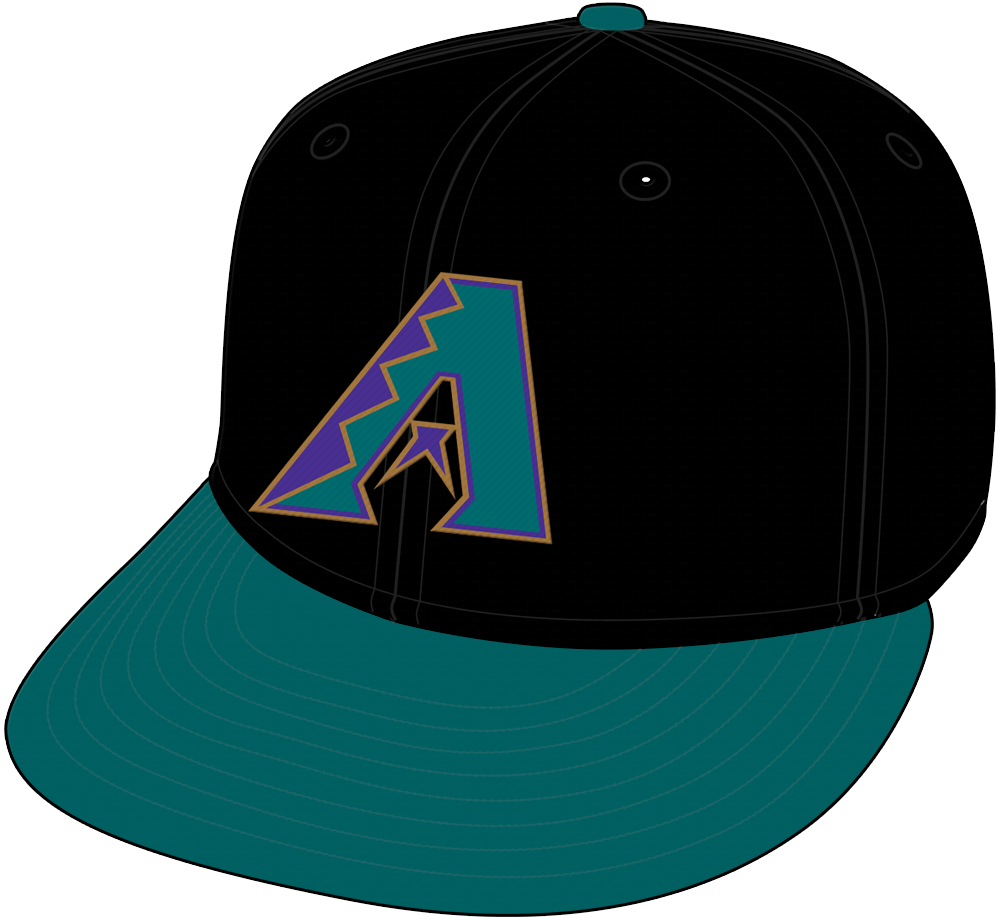 Arizona Diamondbacks Cap Cap (1998) - Arizona Diamondbacks road cap with black crown and purple bill SportsLogos.Net