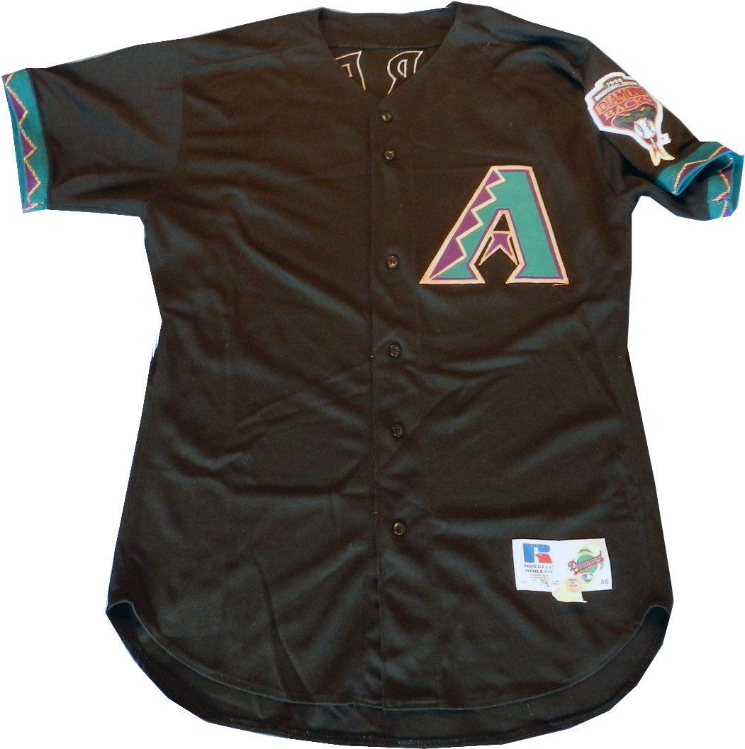 Arizona Diamondbacks Game-Worn Jersey Photo Jersey Photo (1998-2000) - Game worn Arizona Diamondbacks black alternate jersey, this style worn from 1998 to 2000. Note this jersey shows the 1998 Inaugural Season patch on the sleeve, this patch was switched to the very similar styled alternate logo patch for 1999 and 2000 SportsLogos.Net