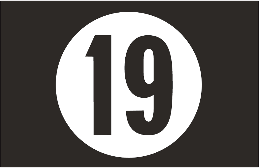 Arizona Diamondbacks Logo Memorial Logo (2013) - White circle with black 19, the 19 is in the Diamondbacks pre-2008 font style. SportsLogos.Net