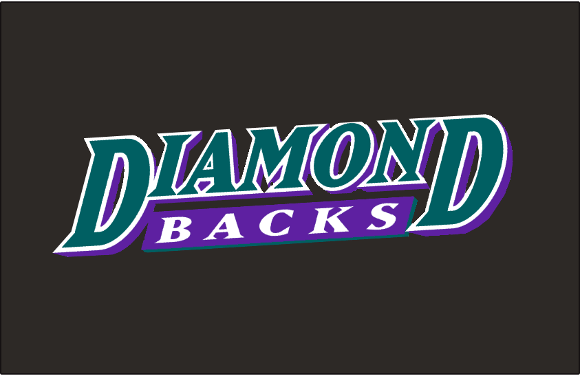 Arizona Diamondbacks Logo Batting Practice Logo (1999-2000) - Diamond in turquoise above Backs in white on a purple underscore on black. Worn on the Arizona Diamondbacks batting practice jersey from 1999 to 2000 SportsLogos.Net