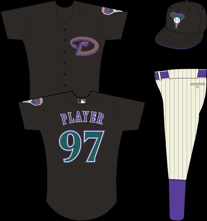 Arizona Diamondbacks Uniform Practice Uniform (2003-2006) - Copper snake forming a D on a black uniform SportsLogos.Net