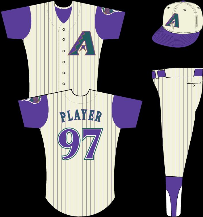 Arizona Diamondbacks Uniform Alternate Uniform (1998) - Multi-colored A on sleeveless cream-colored uniform with purple pinstripes, Inaugural Season snake patch on left sleeve. Cap only worn during 1998 season. SportsLogos.Net