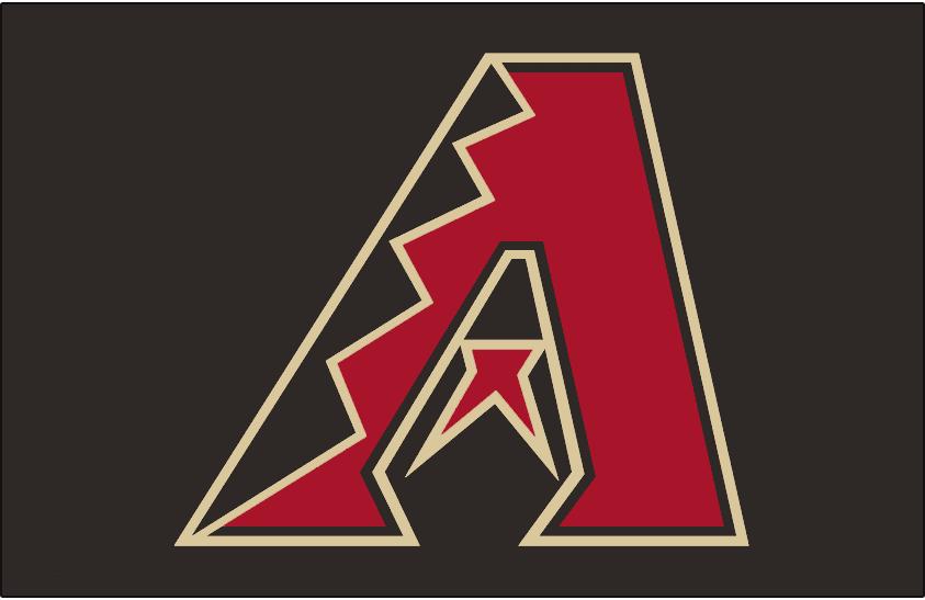 Arizona Diamondbacks Logo Cap Logo (2007-2017) - Black, red and sand A on black, worn on the Arizona Diamondbacks alternate caps beginning in 2007 and their BP caps in 2013 SportsLogos.Net
