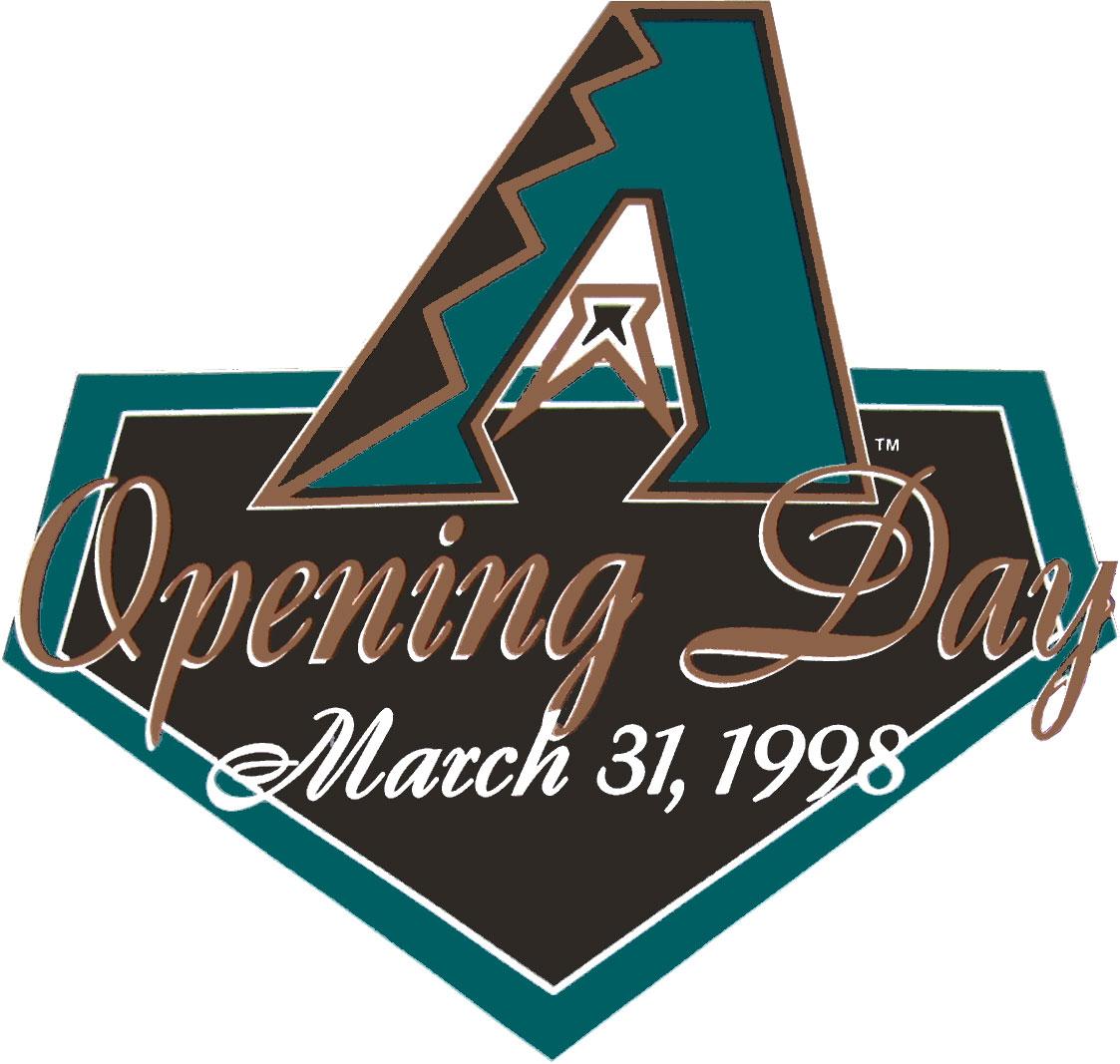 Arizona Diamondbacks Logo Special Event Logo (1998) - A above Opening Day March 31, 1998 on home plate SportsLogos.Net