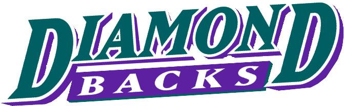 Arizona Diamondbacks Logo Wordmark Logo (1998-2006) - Diamond in turquoise above Backs in white on a purple underscore SportsLogos.Net