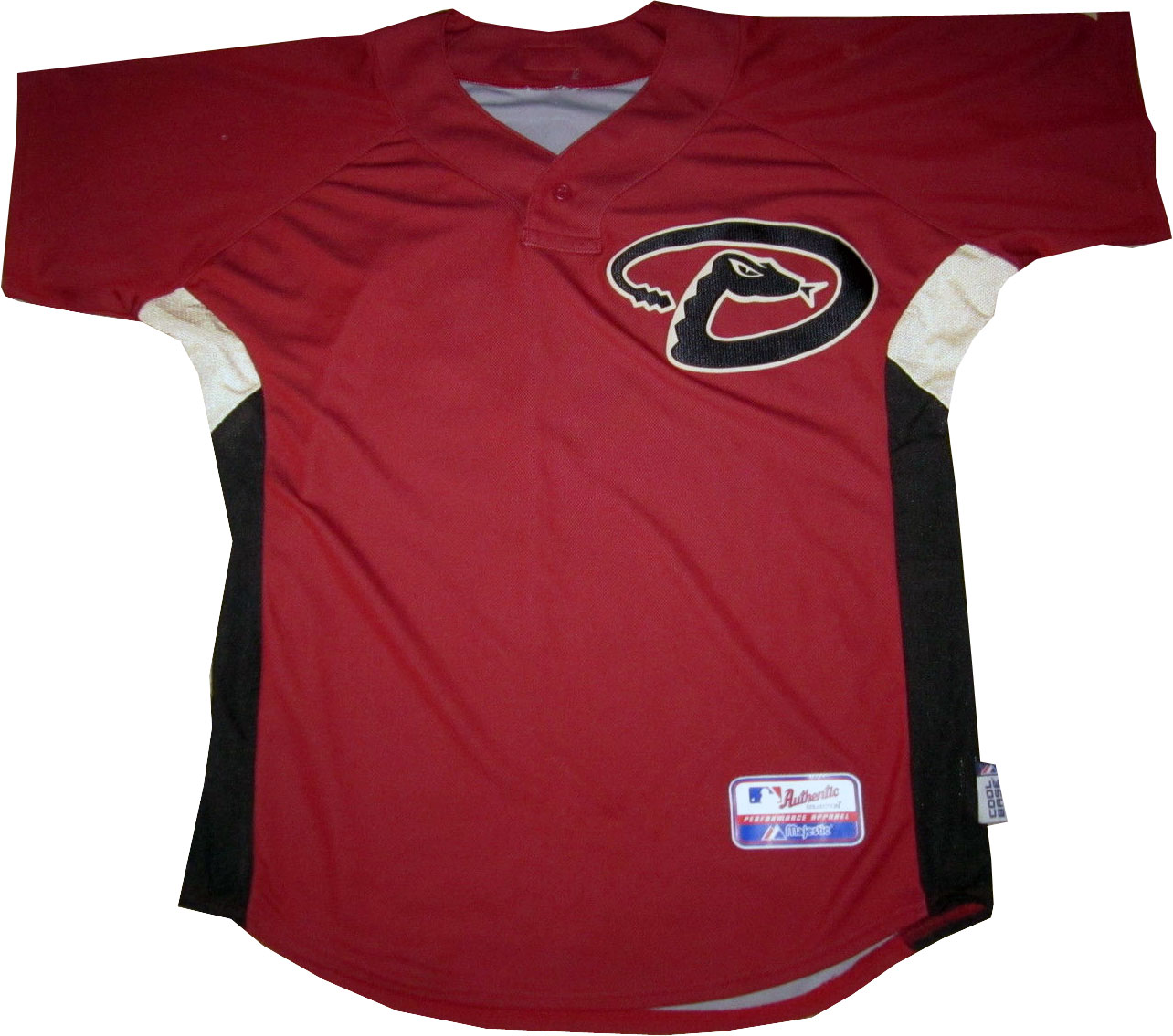 Arizona Diamondbacks Game-Worn Jersey Photo Jersey Photo (2007-2009) - Game worn Arizona Diamondbacks red batting practice jersey, this style worn during spring training and batting practice from 2007 to 2009 SportsLogos.Net