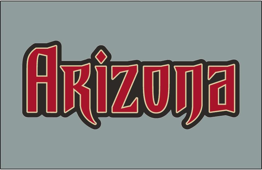 Arizona Diamondbacks Logo Jersey Logo (2007-2015) - Arizona in red with sand and black outlines on grey, worn on the Arizona Diamondbacks road uniform from 2007 through 2015 SportsLogos.Net