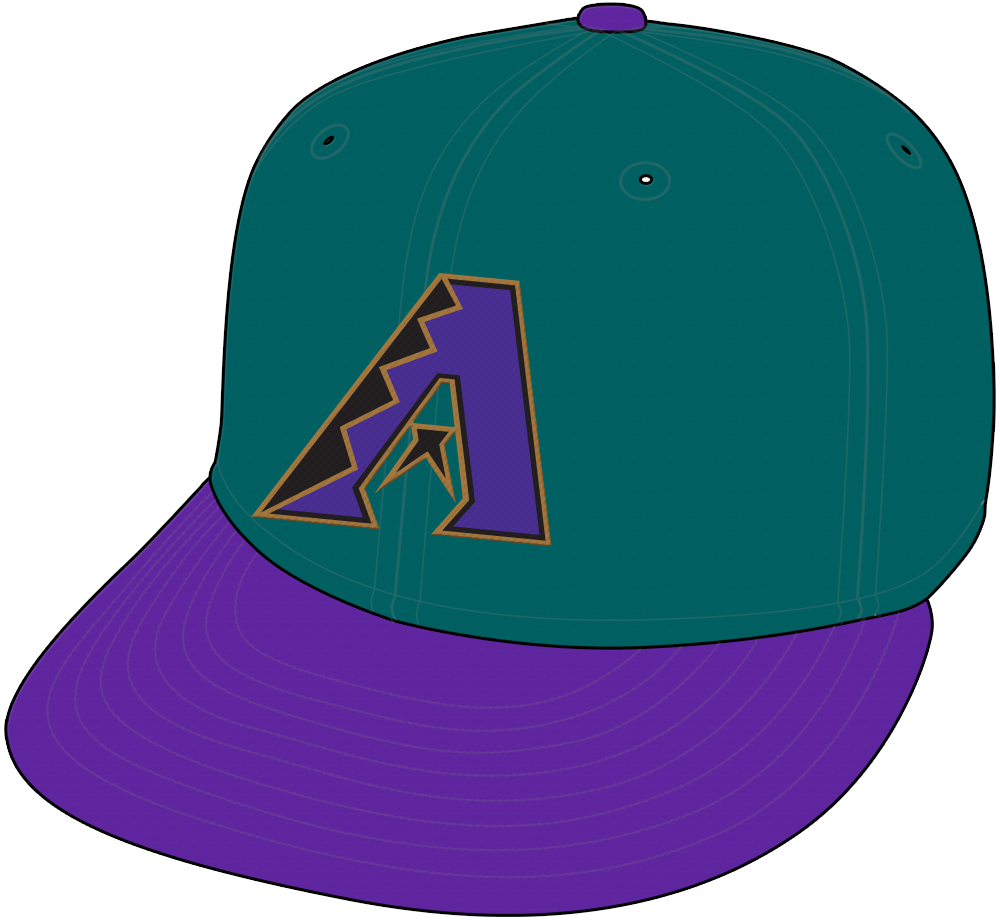 Arizona Diamondbacks Cap Cap (1998) - Arizona Diamondbacks alternate cap with teal crown and purple bill SportsLogos.Net