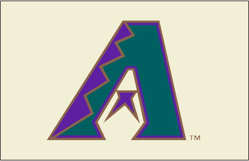 Arizona Diamondbacks Logo Cap Logo (1998) - Purple, turquoise and copper A on cream/white. Originally intended to be worn as the Arizona Diamondbacks home cap but changed to a home alternate cap for the 1998 season SportsLogos.Net