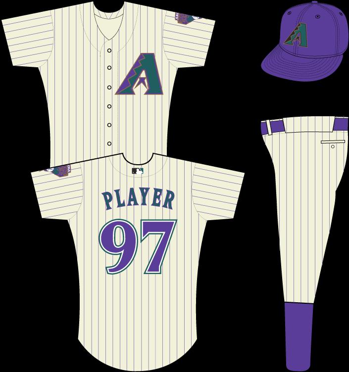 Arizona Diamondbacks Uniform Home Uniform (2001-2006) - Multi-colored A on cream-colored uniform with purple pinstripes, snake patch on left sleeve SportsLogos.Net