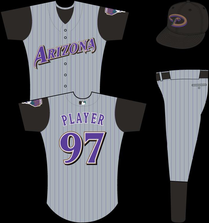 Arizona Diamondbacks Uniform Road Uniform (2001-2002) - Arizona in purple on grey uniform with black pinstripes and black sleeves, snake patch on left sleeve SportsLogos.Net