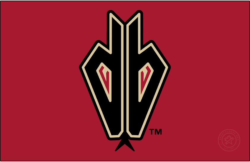 Arizona Diamondbacks Logo Alternate Logo (2008-2015) - Worn on the sleeves of their jerseys of the time, this Arizona Diamondbacks logo showed a lowercase db (for Diamondbacks) with the eyes of a snake inside the letters and a snake tongue below. This version with a black outer outline (instead of the usual red) was worn only on their Sedona Red alternate jersey. SportsLogos.Net