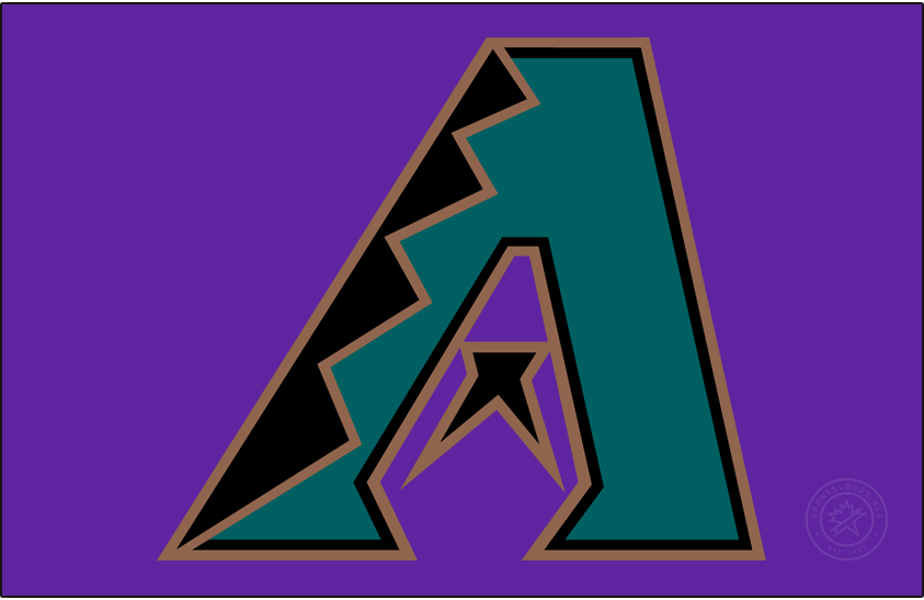 Arizona Diamondbacks Logo Cap Logo (1998-2006) - Black, turquoise and copper A on purple. Worn on the Arizona Diamondbacks home caps from 1998 to 2006. SportsLogos.Net