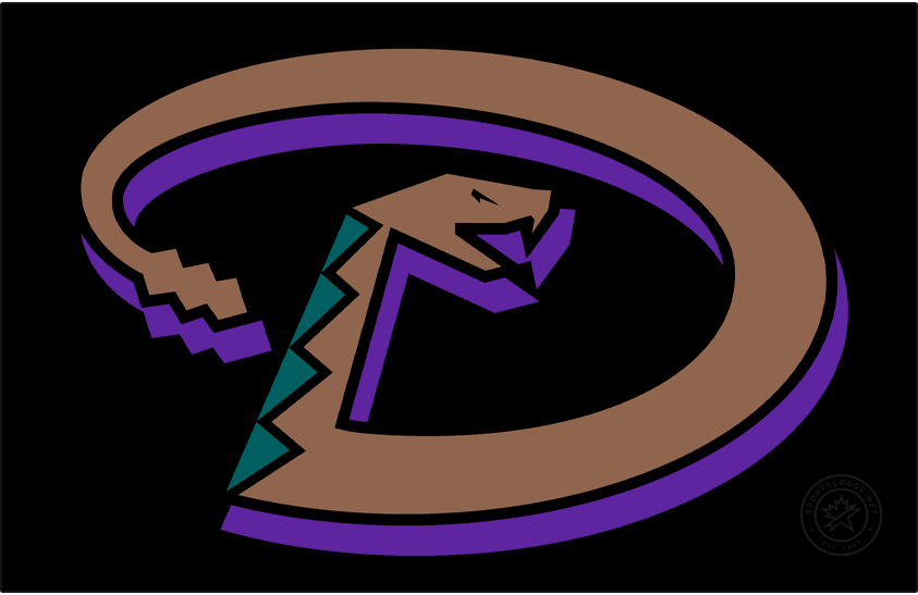 Arizona Diamondbacks Logo Cap Logo (1999-2006) - Snake forming a D in copper with turquoise accents and a purple shadow on black, worn on the Arizona Diamondbacks road caps from 1999-2006 SportsLogos.Net