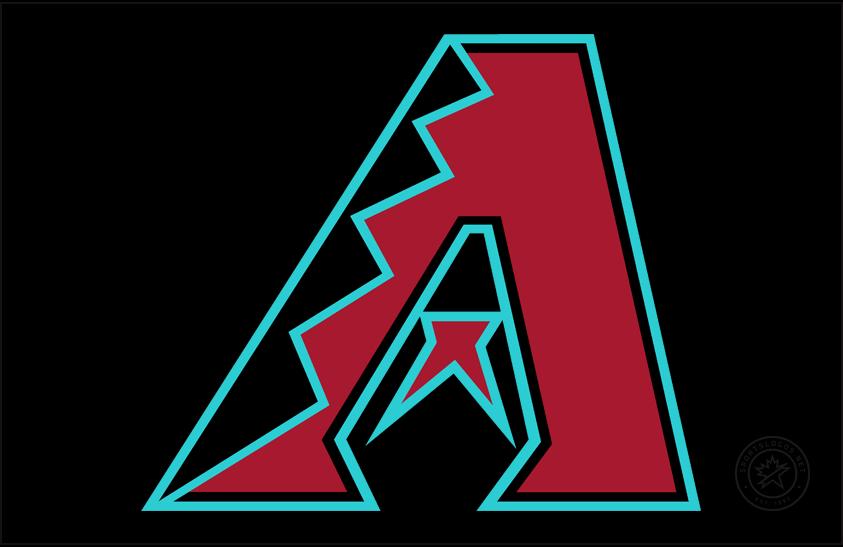 Arizona Diamondbacks Logo Cap Logo (2016-2019) - Primary D-Backs logo trimmed in teal on a black cap, worn on Diamondbacks home alternate cap starting in 2016 season SportsLogos.Net