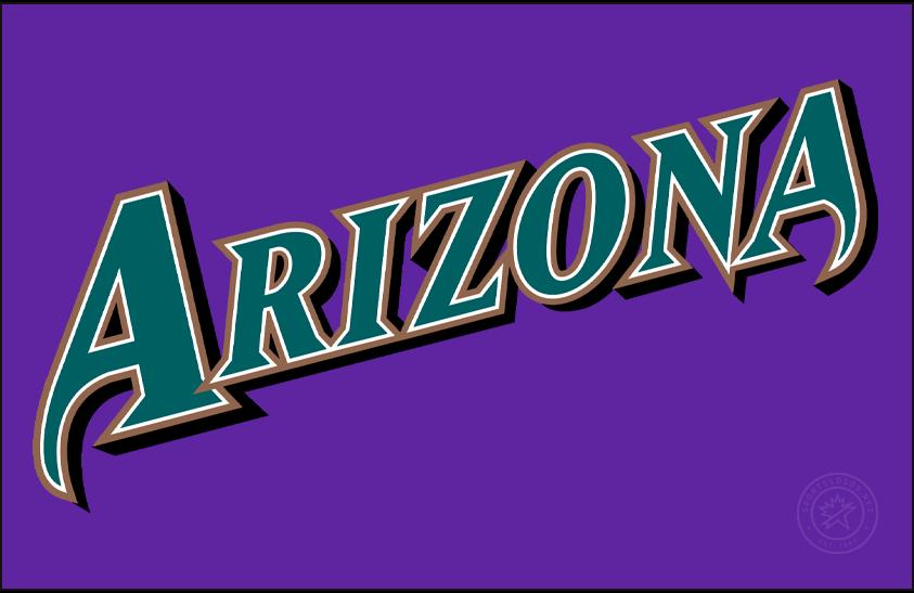 Arizona Diamondbacks Logo Jersey Logo (1998-2002) - Arizona slanted in turquoise with white and copper outlines and a black shadow on purple, worn on the Arizona Diamondbacks purple alternate uniform from 1998 to 2002 SportsLogos.Net