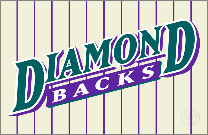 Arizona Diamondbacks Logo Jersey Logo (1998-2000) - Diamond in turquoise with a white outline and a purple shadow slanted above Backs in white in a purple box with a turquoise shadow on a cream-coloured uniform with purple pinstripes. Worn on the Arizona Diamondbacks home uniform from 1998 to 2000 SportsLogos.Net