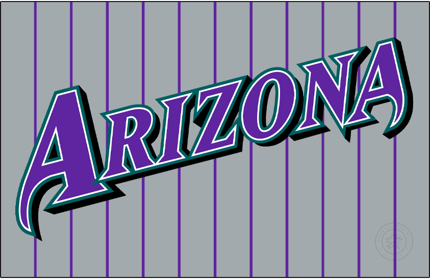 Arizona Diamondbacks Logo Jersey Logo (1998-2000) - Arizona in purple with white and turquoise outlines and a black shadow on a grey uniform with purple pinstripes. Worn on the Arizona Diamondbacks road grey uniform from 1998 to 2000 SportsLogos.Net