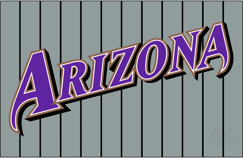 Arizona Diamondbacks Logo Jersey Logo (2001-2006) - Arizona slanted in purple with white and copper outlines and a black shadow on a grey uniform with black pinstripes, worn on the Arizona Diamondbacks sleeveless road grey uniform from 2001 to 2006 SportsLogos.Net