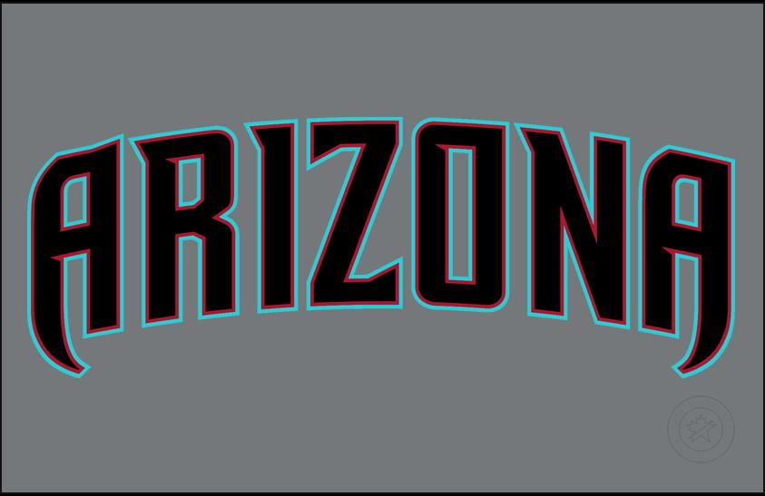 Arizona Diamondbacks Logo Jersey Logo (2016-2019) - Arizona in black, red, and teal on a dark grey jersey. Worn on Arizona Diamondbacks road alternate uniform starting in 2016 SportsLogos.Net