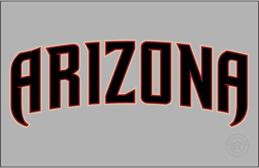 Arizona Diamondbacks Logo Jersey Logo (2020-Pres) - Arizona in black trimmed in red and sand on a traditional grey jersey, worn on Dbacks road uniforms starting in 2020 SportsLogos.Net
