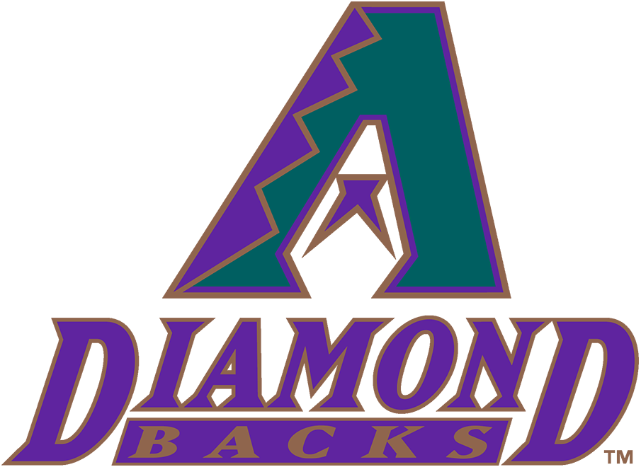 Arizona Diamondbacks Logo Primary Logo (1998-2006) - The original Arizona Diamondbacks logo featured a turquoise A with purple and copper markings mimicking the skin of a diamondback snake. Within the middle of the A is a purple half star which both appears like a snake tongue and completes the design of a snake head in the negative space. Below the logo is the team name stacked in italics in purple and copper. SportsLogos.Net