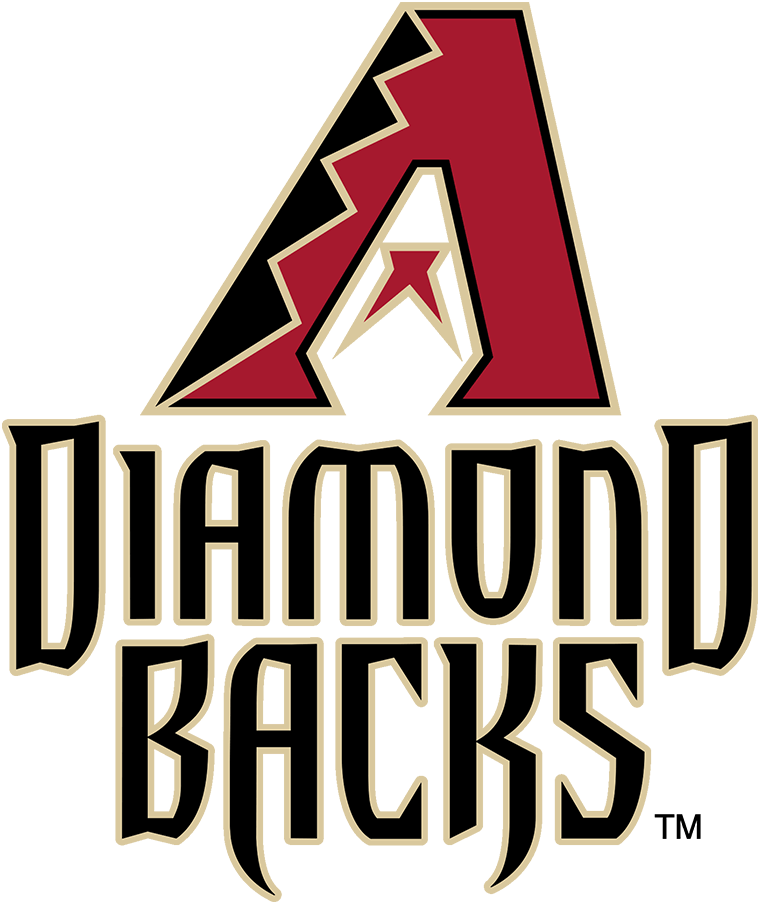 Arizona Diamondbacks Logo Primary Logo (2007-2011) - The Arizona Diamondbacks changed their colours for the 2007 season while retaining the same logo design as their original look. Now Sedona Red the A logo featured black and Sonoran Sand snake skin patterns with a red and sand half-star, tongue in the middle, a snake head shape formed in the negative space. A new typeface for the team name was created with the A and K in BACKS shaped to appear like snake fangs. SportsLogos.Net