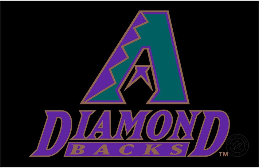 Arizona Diamondbacks Logo Primary Dark Logo (1998-2006) - The original Arizona Diamondbacks logo featured a turquoise A with purple and copper markings mimicking the skin of a diamondback snake. Within the middle of the A is a purple half star which both appears like a snake tongue and completes the design of a snake head in the negative space. Below the logo is the team name stacked in italics in purple and copper. SportsLogos.Net