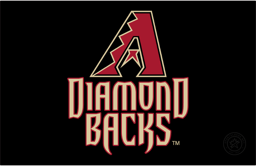 Arizona Diamondbacks Logo Primary Dark Logo (2007-2011) - The Arizona Diamondbacks changed their colours for the 2007 season while retaining the same logo design as their original look. Now Sedona Red the A logo featured black and Sonoran Sand snake skin patterns with a red and sand half-star, tongue in the middle, a snake head shape formed in the negative space. A new typeface for the team name was created with the A and K in BACKS shaped to appear like snake fangs. SportsLogos.Net