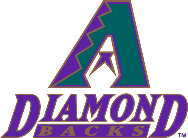 Arizona Diamondbacks Logo Primary Logo (1998-2006) - Turquoise, purple and copper A above Diamond Backs in purple and copper SportsLogos.Net
