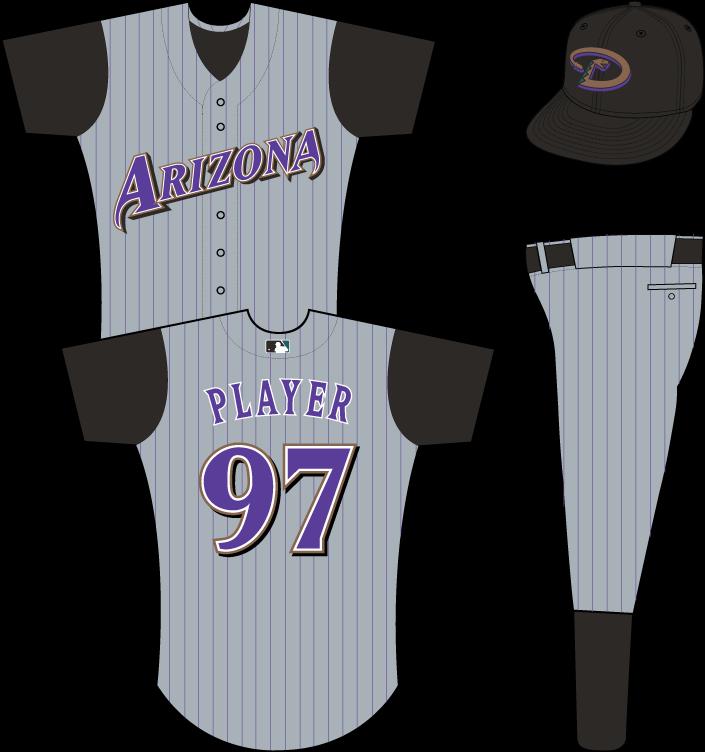Arizona Diamondbacks Uniform Road Uniform (2003-2006) - Arizona in purple on grey uniform with black pinstripes and black sleeves SportsLogos.Net