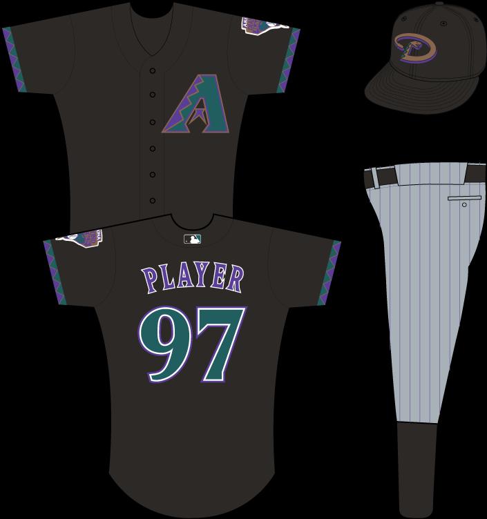 Arizona Diamondbacks Uniform Alternate Uniform (2000) - Multi-colored A on black uniform with teal, purple and gold sleeve accents, snake patch on left sleeve (MLB batter logo added in 2000) SportsLogos.Net