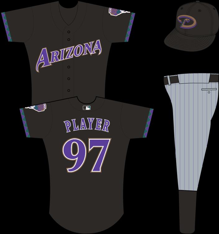 Arizona Diamondbacks Uniform Alternate Uniform (2001-2006) - Arizona in purple on black uniform with teal, purple and gold sleeve accents, snake patch on left sleeve SportsLogos.Net