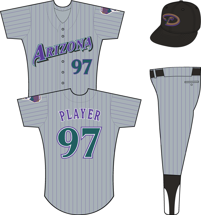 Arizona Diamondbacks Uniform Road Uniform (1999-2000) - Arizona in purple on grey uniform with black pinstripes, snake patch on left sleeve. Note, for the 2000 season a small MLB logo patch was added to the back collar of this jersey. SportsLogos.Net
