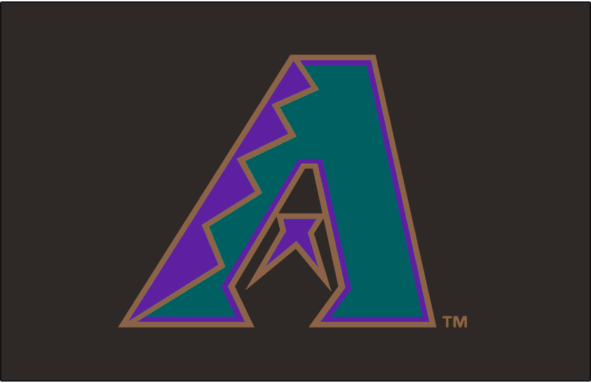 Arizona Diamondbacks Logo Jersey Logo (1998-2000) - Purple, turquoise and copper A on black, worn on the Arizona Diamondbacks black alternate jersey from 1998 to 2000 SportsLogos.Net