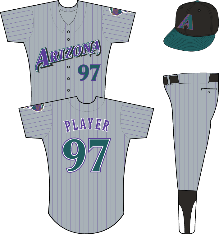 Arizona Diamondbacks Uniform Road Uniform (1998) - Arizona in purple on grey uniform with black pinstripes, Inaugural Season patch on left sleeve SportsLogos.Net