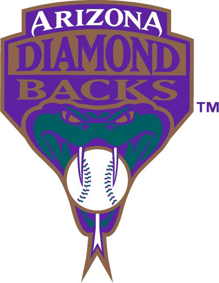 Arizona Diamondbacks Logo Alternate Logo (1998-2006) - A snake biting a baseball under team name SportsLogos.Net