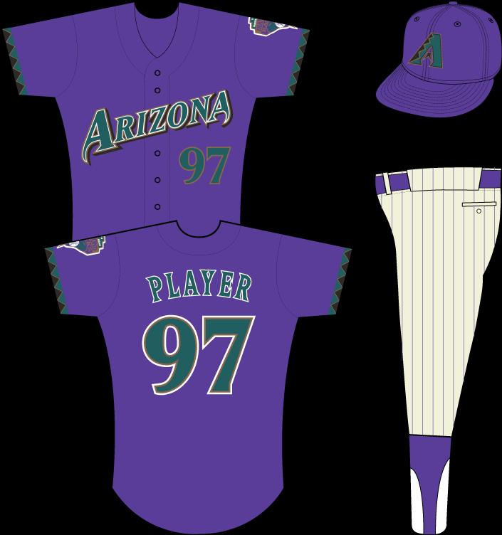 Arizona Diamondbacks Uniform Alternate Uniform (1998) - Arizona in teal on purple uniform with teal, black and gold sleeve accents, Inaugural Season patch on left sleeve SportsLogos.Net