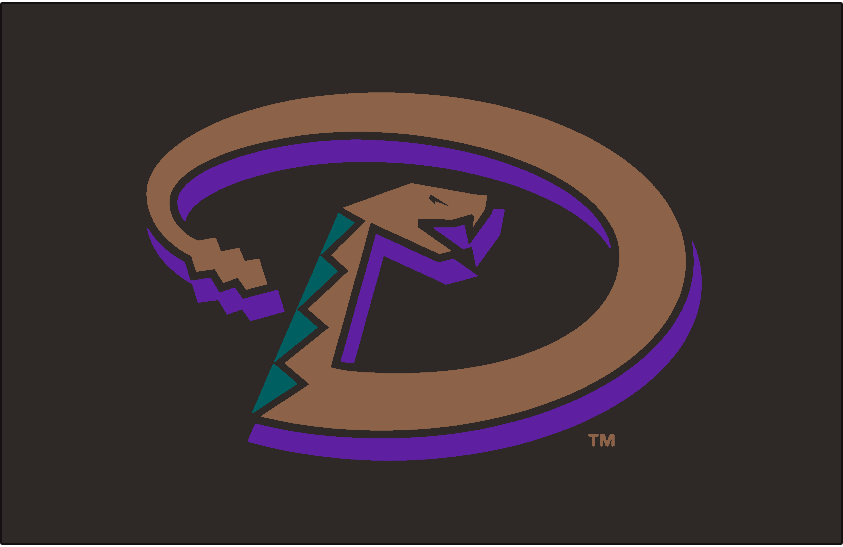 Arizona Diamondbacks Logo Jersey Logo (2001-2006) - Snake forming a D in copper with turquoise accents and a purple shadow on black, worn on the Arizona Diamondbacks black alternate jersey from 2001 to 2006 SportsLogos.Net